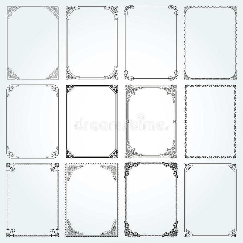 Decorative rectangle frames and borders set vector stock photos