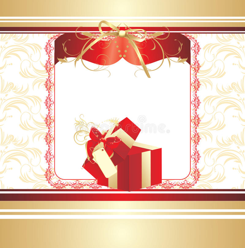 Download Decorative Red Box With Bow. Background For Card Stock Photo - Image: 17339610
