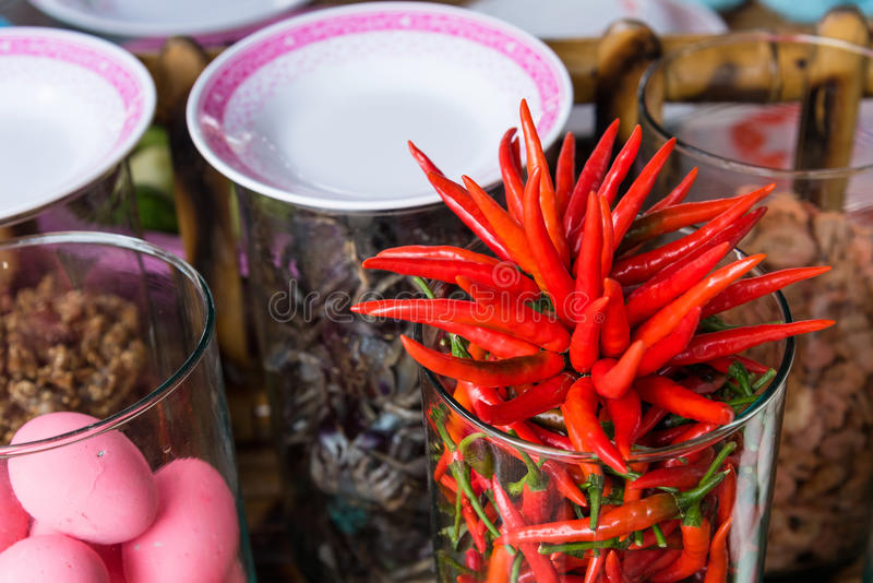 Decorative red chili in thai food shop. Decorative red chili in thai food shop royalty free stock image