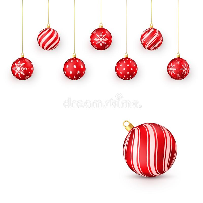 Decorative red Christmas balls set. Vector illustration isolated on white background.  stock illustration