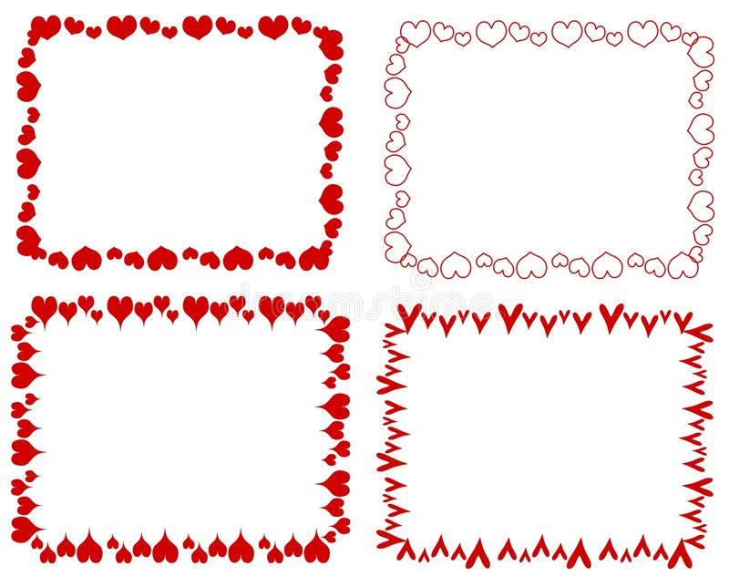 Download Decorative Red Rectangle Hearts Borders Stock Illustration - Image: 3909783