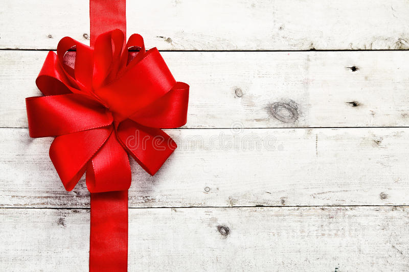 Decorative red ribbon and bow stock photography