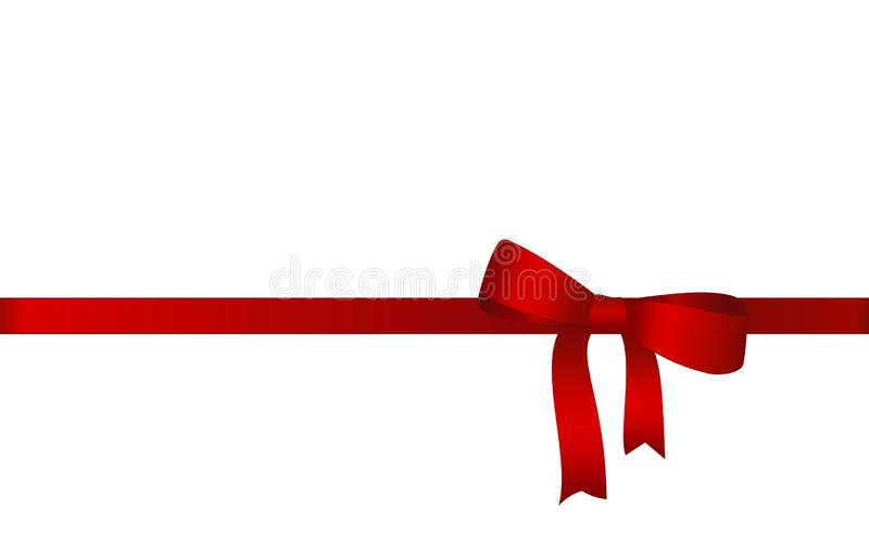Decorative Red satin bow with horizontal ribbon isolated on white. Concept royalty free illustration