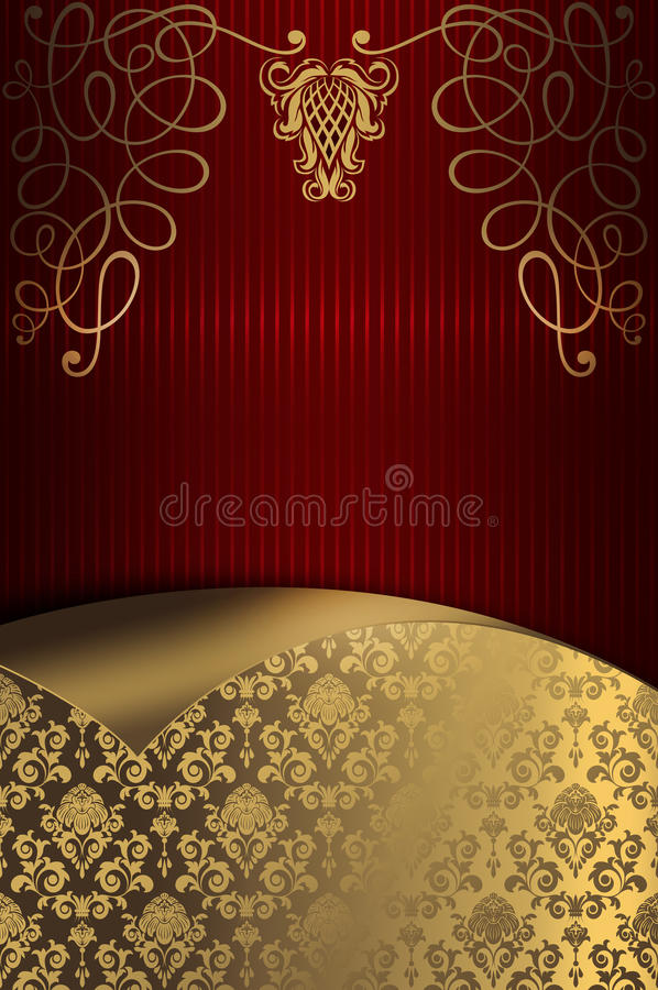 Decorative red striped background with gold floral patterns. royalty free illustration