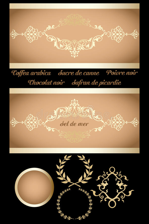 Decorative retro banner. With labels and frames isolated on black stock illustration