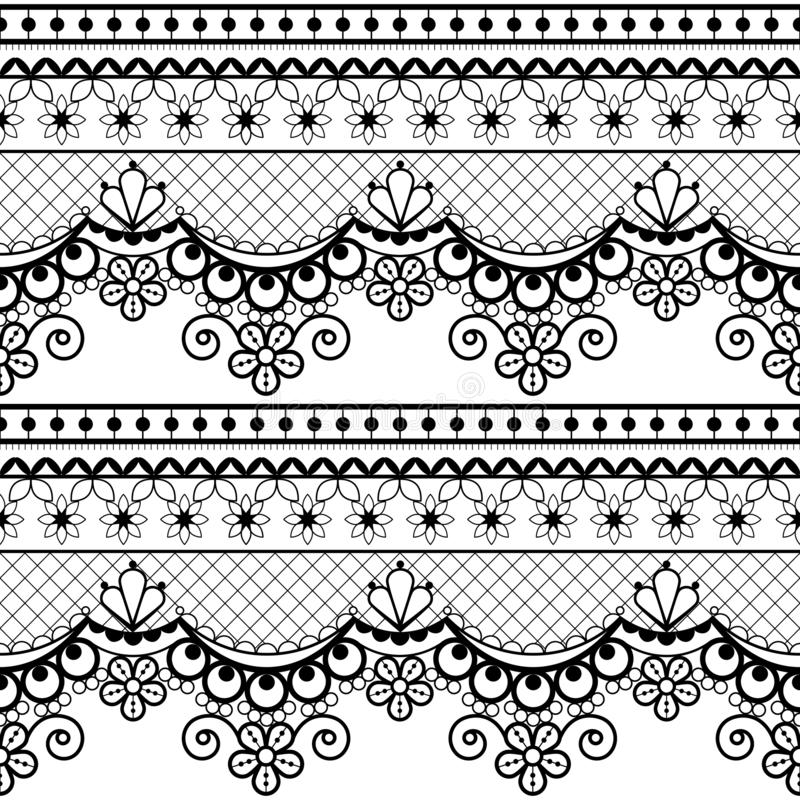 Wedding lace French or English seamless pattern set, black ornamental repetitive design with flowers - textile design vector illustration