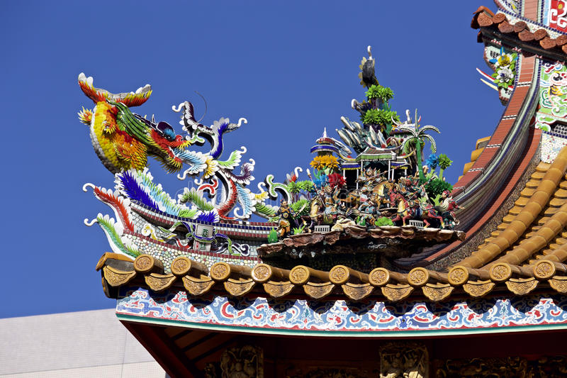 Decorative roof of the chinatown. A decorative roof of the very beautiful chinatown stock photo