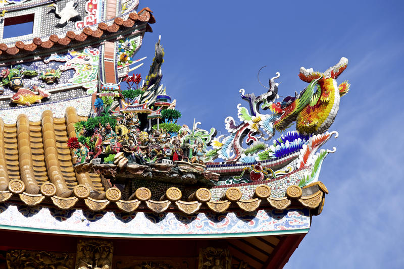 Decorative roof of the chinatown. A decorative roof of the very beautiful chinatown stock photography