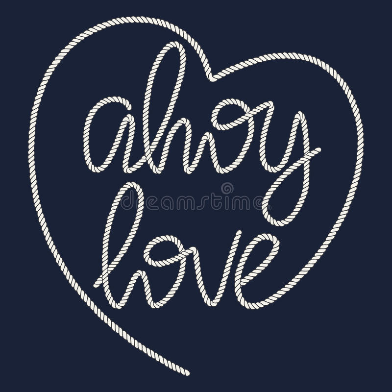 Free Decorative Rope Hand Lettering Ahoy Love Royalty Free Stock Photos - 84119618
