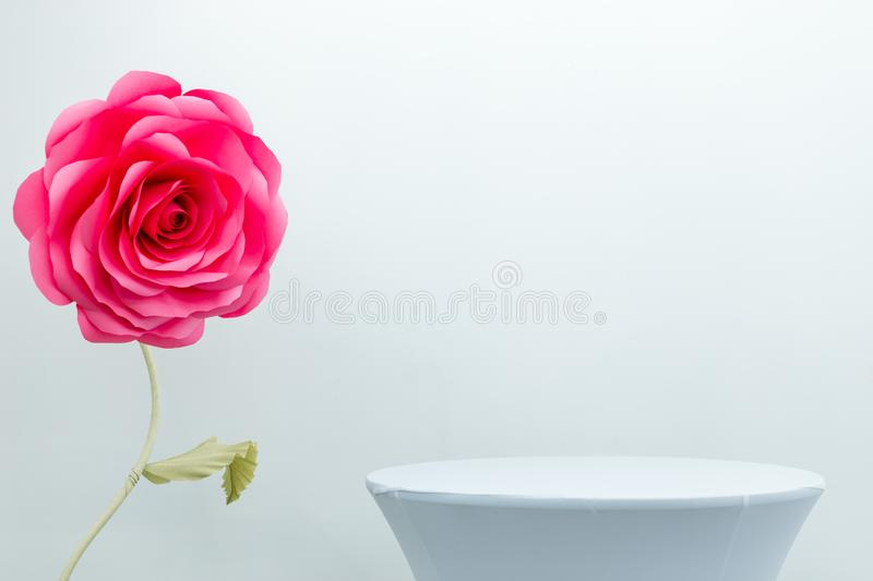 Decorative rose as a hall decoration. White background royalty free stock photo
