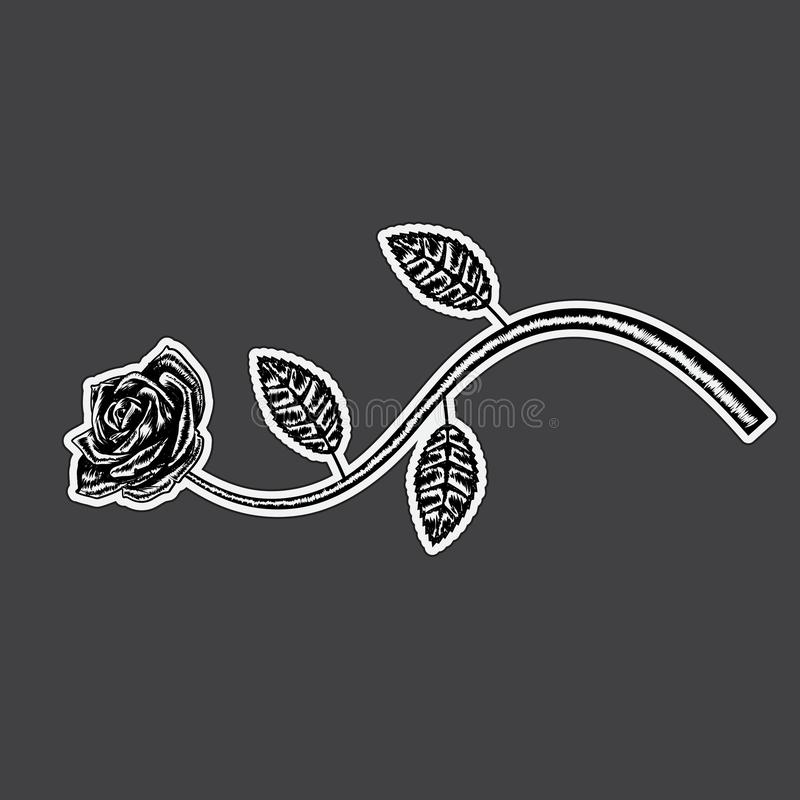 Decorative rose with long stem. Vector flower silhouette stock illustration