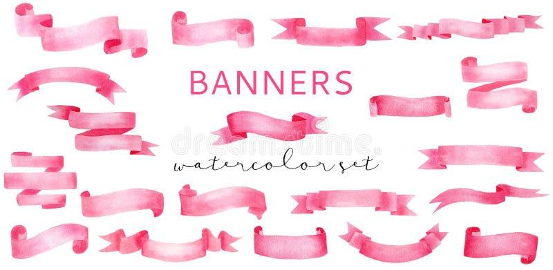 Decorative rose pink watercolor banner ribbons set royalty free illustration