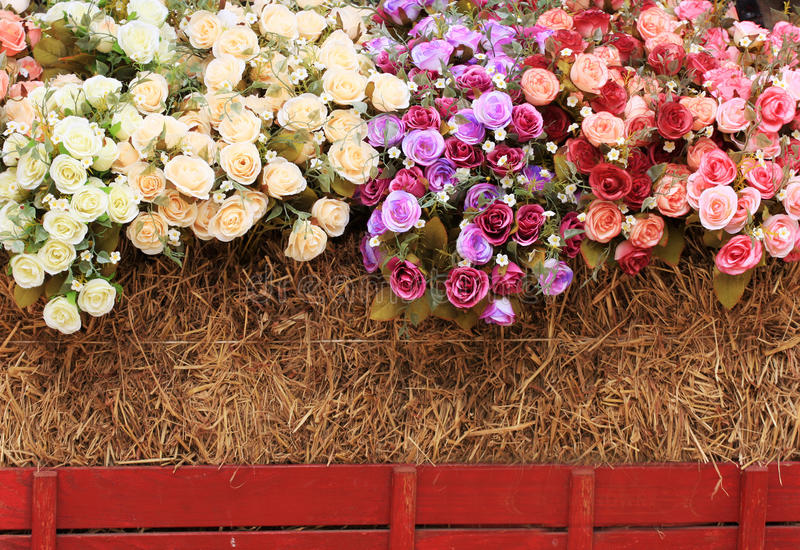 Download Decorative Roses With The Straw Bales Stock Photo - Image: 24098266