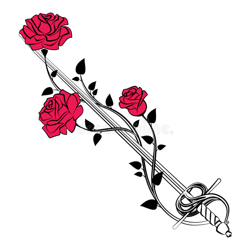 Decorative roses with sword. Blade entwined roses. Floral design stock illustration