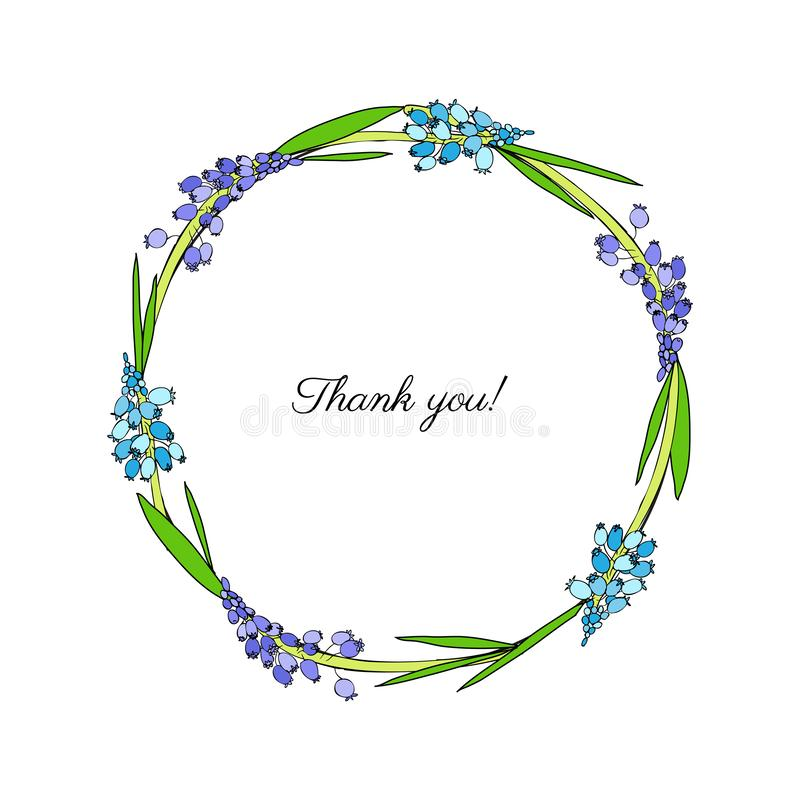 Decorative round frame Muscari flower hand drawn ink sketch isolated on white backdrop, floral hyacinth wreath for royalty free illustration