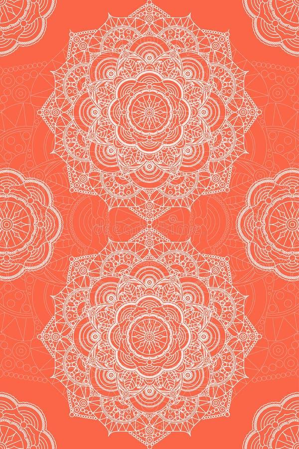 Tibetan mandala illustration. Orange background with white. Decorative round ornament. Background for meditation poster. Unusual flower shape oriental line stock illustration