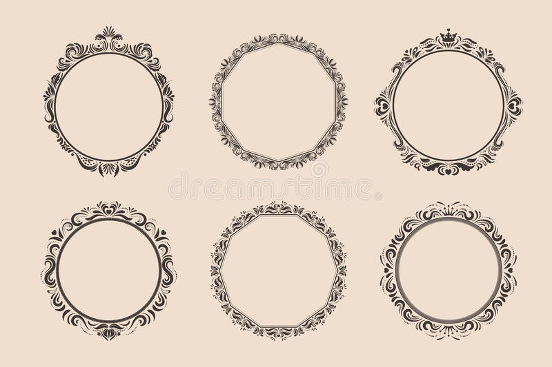 Decorative round vintage frames and borders set. Victorian and baroque style design. Elegant royal-style frame shapes with swirls for labels,tags and royalty free illustration