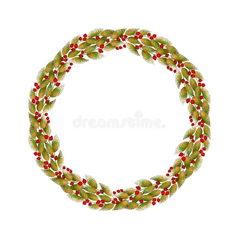 Decorative round wreath of autumn leaves and red berries on white background. vector illustration