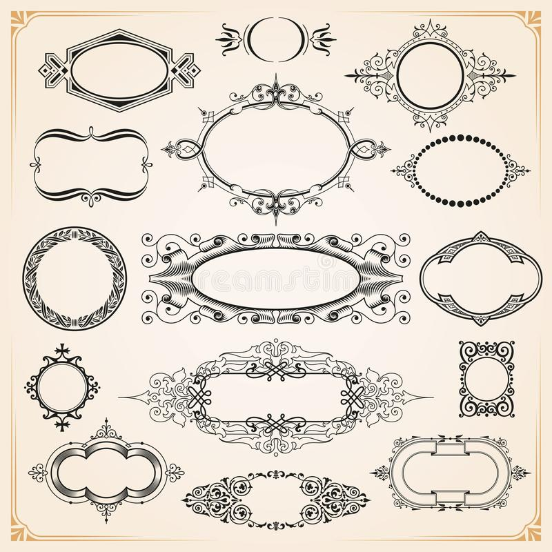Decorative rounded circle and oval frames and borders set stock image