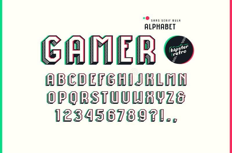Decorative sans serif bulk font in the sport style vector illustration
