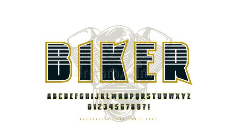 Decorative sans serif font with contour vector illustration