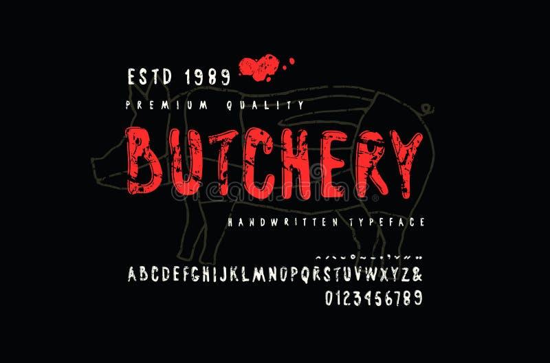 Decorative sans serif font and label for butchery royalty free illustration