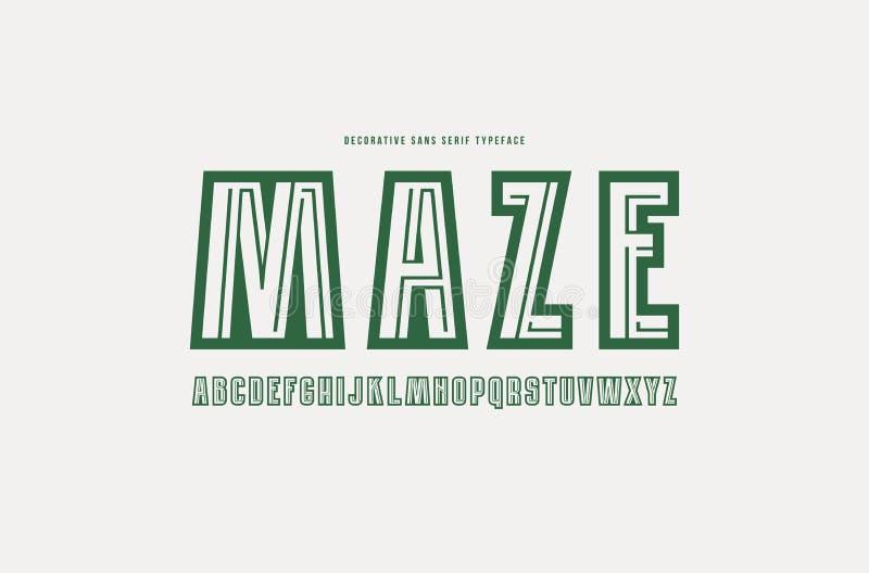 Decorative sans serif font with a maze inside royalty free illustration