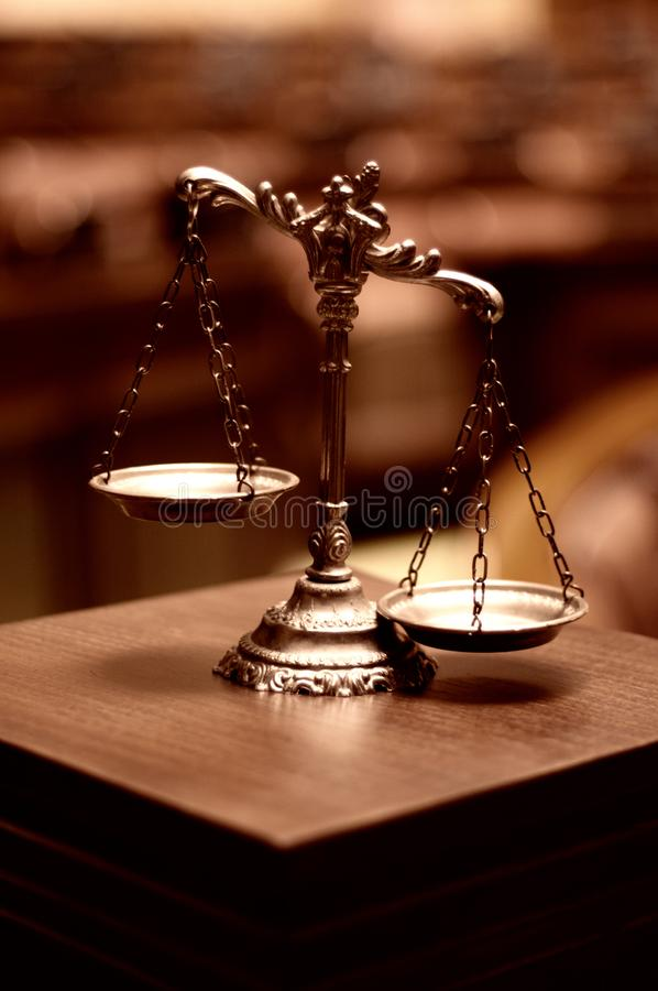 Decorative Scales of Justice, legality concept royalty free stock images
