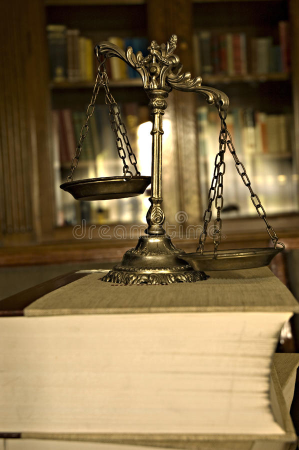 Decorative Scales Of Justice In The Library Stock Image