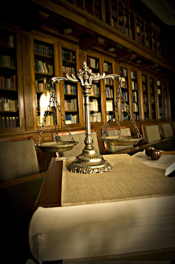 Free Decorative Scales Of Justice In The Library Royalty Free Stock Photo - 25068965