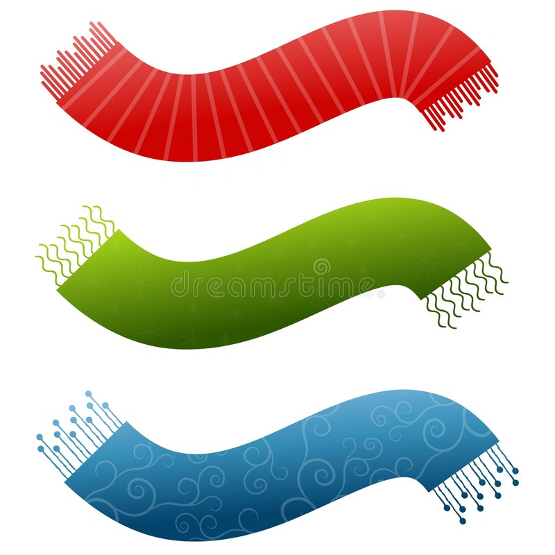 Decorative Scarf Logos 2. An illustration featuring colourful scarves as swoosh shaped logos in red green and blue with designs royalty free illustration