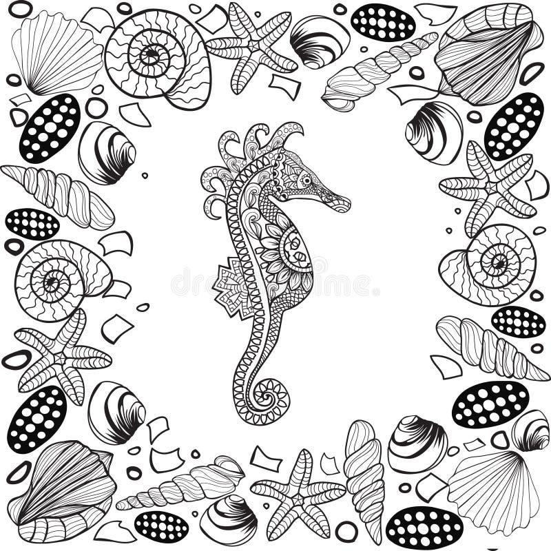 Decorative sea horse. Zentagle style. stock illustration