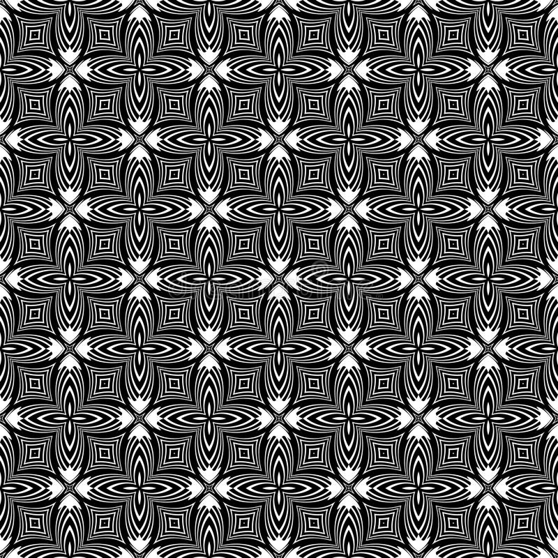 Decorative Seamless Floral Geometric Black & White Pattern Background. Flowers, geometry. Vector modern seamless geometry pattern star, black and white abstract vector illustration