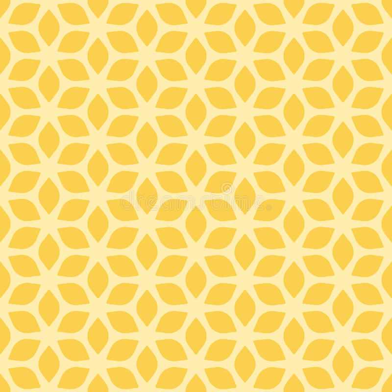 Decorative Seamless Floral Geometric Yellow Pattern Background royalty free illustration