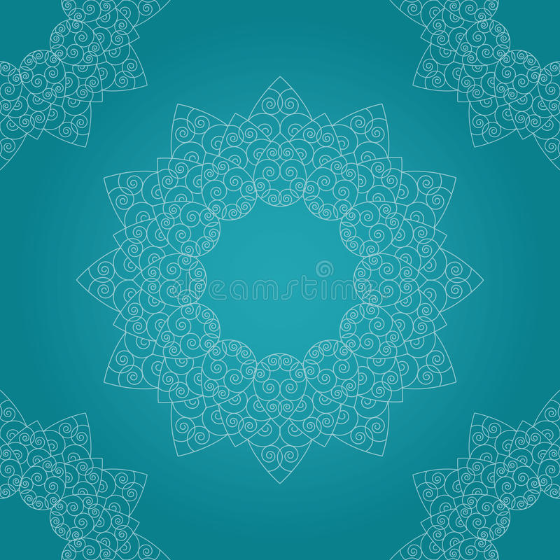 Decorative seamless line art flower pattern on the bright turquoise gradient background stock images
