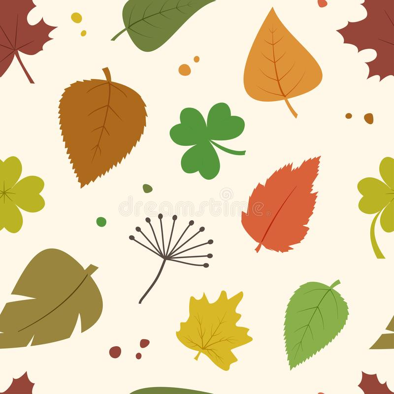 Decorative seamless pattern with autumn different colorful leaves. Vector. Illustration stock illustration