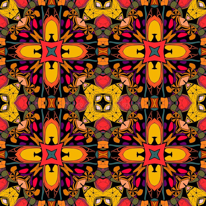 Decorative seamless pattern. Bright ethnic ornament. Multicolor geometric flowers. Tribal vector illustration. stock illustration