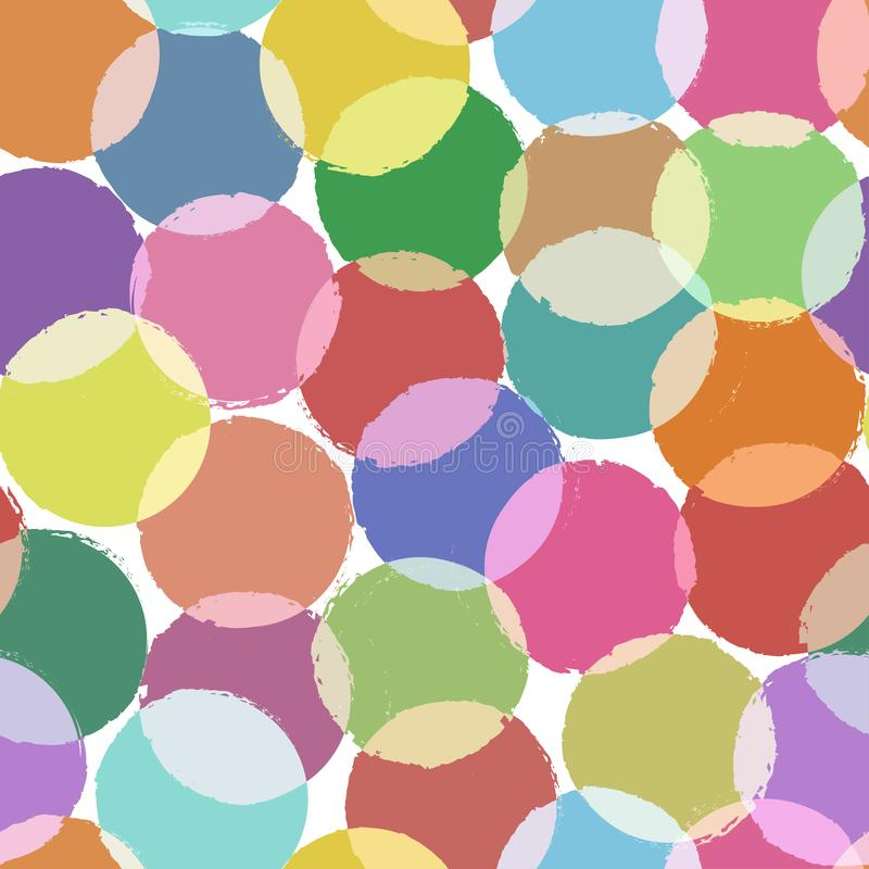Decorative seamless pattern with colorful circles, grunge painted texture on pastel background. Retro style. Vector. Illustration vector illustration