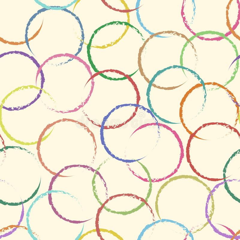Decorative seamless pattern with colorful circles on pastel background. Grunge painted rings with different texture. Retro style. Vector Illustration vector illustration