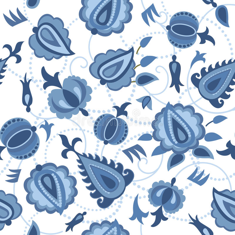 Decorative seamless pattern with flowers vector illustration