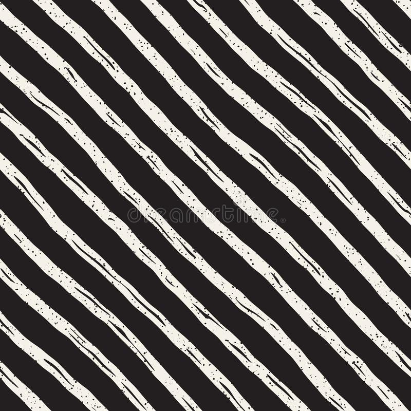 Decorative seamless pattern with handdrawn doodle lines. Hand painted wavy stripes background. Trendy endless freehand royalty free illustration