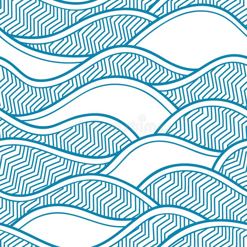 Free Decorative Seamless Pattern. Vector Illustration With Abstract Waves Or Dunes. Stock Image - 121940381