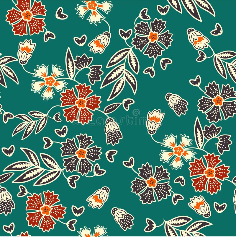 Decorative seamless pattern with vintage batik flowers royalty free illustration