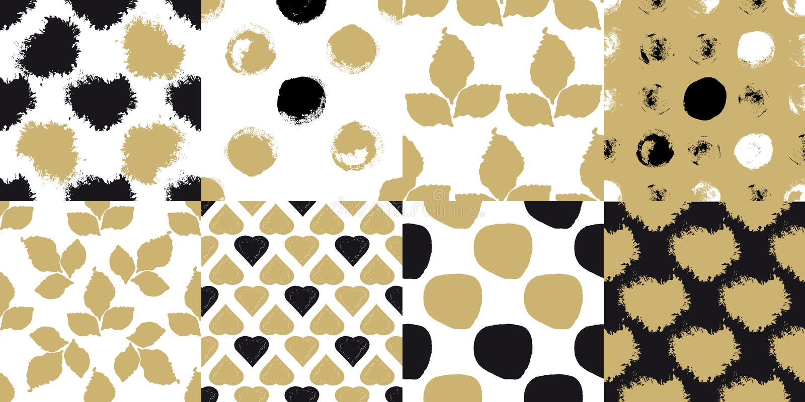 Decorative seamless patterns. Set with brush drawn circles, hearts, leaves and blobs on golden and white background. Abstract acrylic for creative design stock illustration