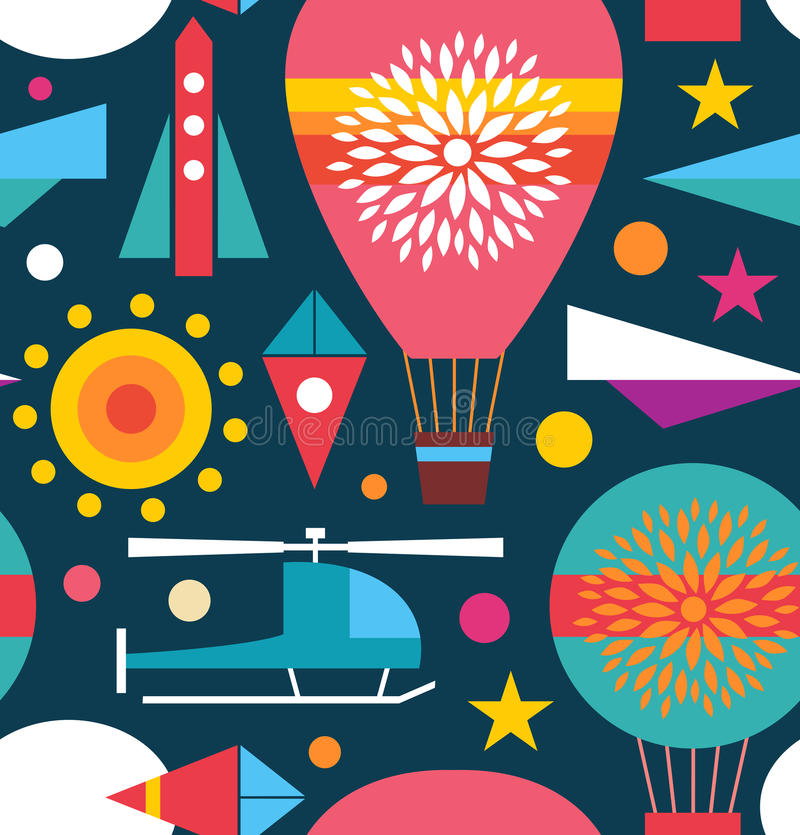 Decorative seamless sky pattern Background with air balloon, helicopter, kite, airplane sky rocket. Childish geometric texture stock illustration