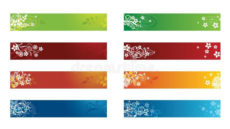 Decorative seasonal floral banners stock illustration