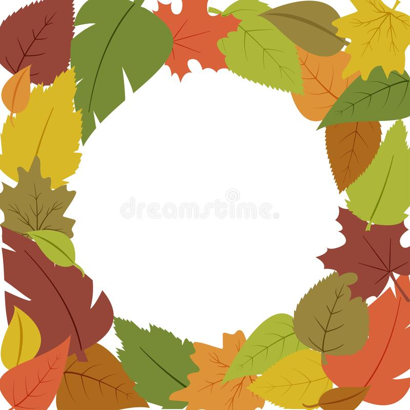 Decorative seasonal frame with different colorful autumn leaves, space fot your text. Vector. Illustration vector illustration