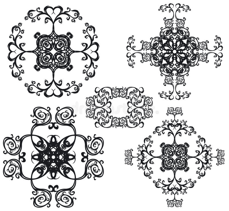 Decorative set cross III b&w. Decorative cross set. Each element is one object. 5 black floral elements royalty free illustration