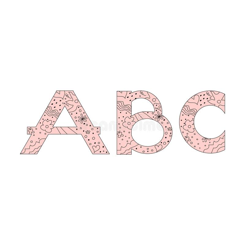 Decorative set floral doodle pattern letter alphabet abc font. Lettering fashion hand drawn spring flowers,hearts and polka dots stock illustration