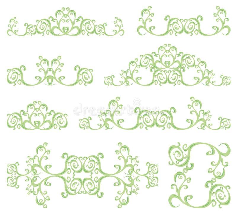 Decorative set III. Decorative set. 8 color floral elements stock illustration